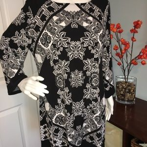 Style & Co. Black Print Dress